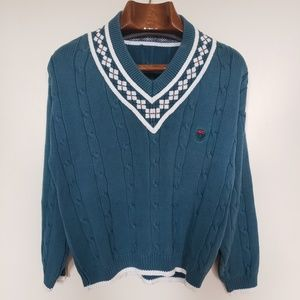 Vintage // Izod v-neck argyle cable knit pullover